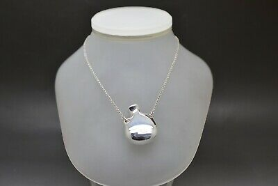 Tiffany & Co. Elsa Peretti 925 Sterling Silver Necklace with Open Bottle Pendant