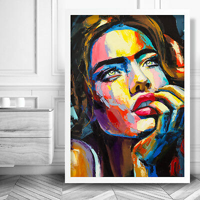 Abstract Fashion Textured FACE Art PRINT from Original Painting