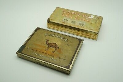 (2) Vintage Advertising Tins Camel & Lipton - lot 2123