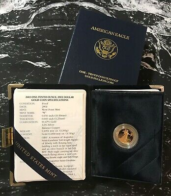 2003 - 1/10 - $5 - American Gold Eagle Proof from The United Sates Mint