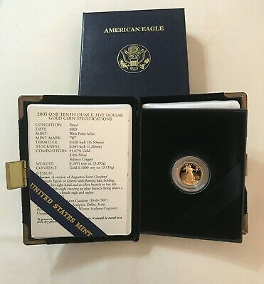 2005 - 1/10 - $5 - American Gold Eagle Proof from The United Sates Mint