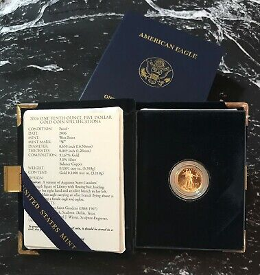 2006 - 1/10 - $5 - American Gold Eagle Proof from The United Sates Mint