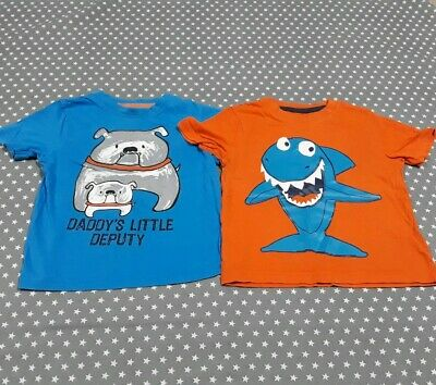 Cute Bundle Of 2 Boys Tshirts Tops Size Age 2-3 Years George Baby Shark Dogs