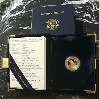 2008 - 1/10 - $5 - American Gold Eagle Proof from The United Sates Mint