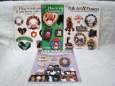 Lot of 4 1988 Hot Off the Press Tole & Country Painting/Folk Art & Flowers Pb Bk