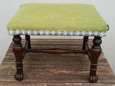 Vintage Antique square oak footstool / green fabric top & white flower brocade