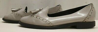 Genuine womens ladies beige leather loafers tassel shoes Size 6 EU 39