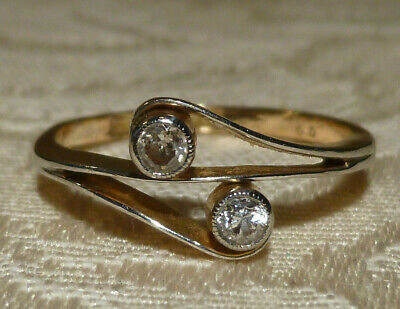 Antique Victorian 18ct Gold Diamond Crossover Ring Makers Mark G&P 1.7gm Boxed