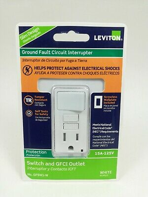 Leviton Ground Fault Circuit Interrupter Switch/GFCI Outlet - WHITE - #GFSW1-W