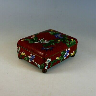 Old Chinese Bronze Cloisonne Hinged Enamel Trinket Box