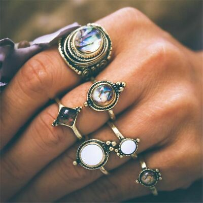 Women Jewelry Boho Vintage Cobblestone Finger Rings Antique Gold Midi Knuckle