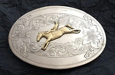 VTG Montana Silversmith BUCKING BRONCO German Silver Cowboy 🤠 Rodeo BELT BUCKLE