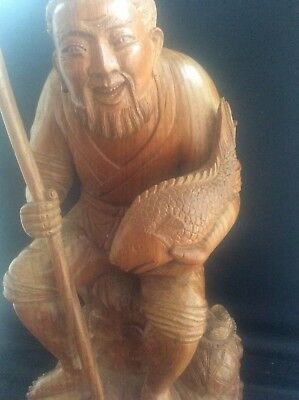 Vintage Chinese Wooden Figure Statue Fisherman Deity Immortal Wood Fish Carving