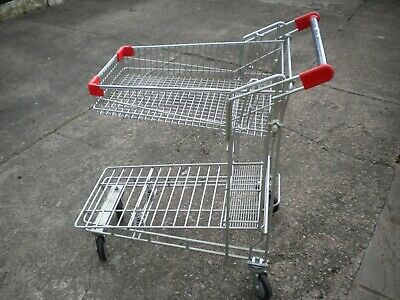 Supermarket Shopping Trolley  Flatbed Warehouse Picking Garden Nursery Garage