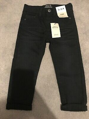 BNWT Primark Boys Black Skinny Jeans Age 2-3 Years Adjustable Waist