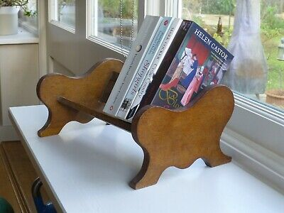 Vintage wooden oak book rack trough cradle - English Arts & Crafts style
