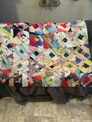 """Vintage PatchHand Made Quilt ..Wall Hanging 48"""" By 40"""" Hand Quilted"""