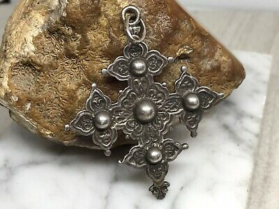 Antique Vintage Ornate Handmade Sterling Silver Large Cross Pendant