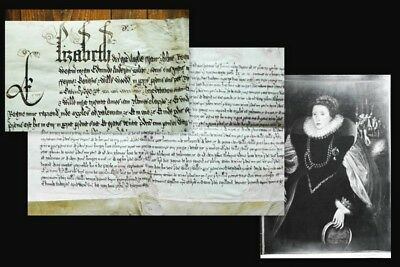 1596 Elisabeth I. Elizabeth Tudor Queen Pergament-Urkunde Vellum Document