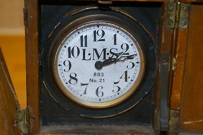 Very RARE Antique LMS Travel Alarm Clock Cased Clock 883 No. 21 Railway
