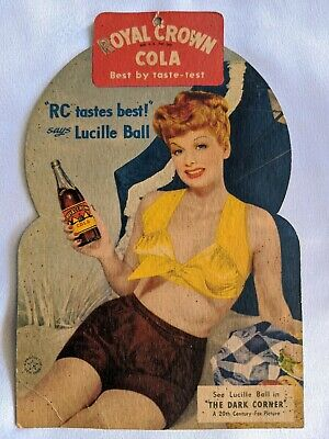 Vintage 1947 Lucille Ball Royal Crown Rc Cola 2-Sided Store Hangtag I Love Lucy