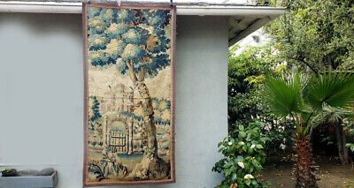 A Good 18th Century Verdure Tapestry with Castle Gate