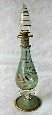 """Vintage Hand Blown Egyptian Glass And Gilded Perfume Vials Bottle - 7"""" Tall"""