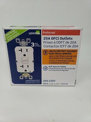 Leviton GFNT2-3W 20A Self-Test SmartlockPro Slim GFCI Receptacle, White (3 pack)