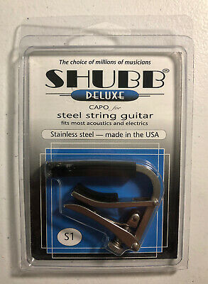 Shubb S1 Stainless Steel Guitar Capo for Steel String Guitars NiB FREE shipping