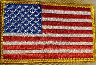 """3823//24 4/"""" x 2.5/"""" AMERICAN FLAG BLACK BORDER iron on patch Choice of Style"""