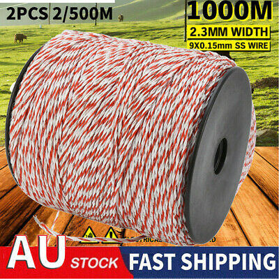 1000M 2.3mm Roll Polywire Electric Fence Stainless Poly Wire Energiser Insulator