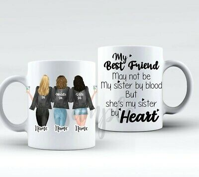 3 Best Friends Personalised Best Friend Mug! with choices sisters family besties