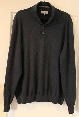 Neiman Marcus Men's 100% Cashmere Gray 1/4 Button Pullover Sweater - Size 2XL
