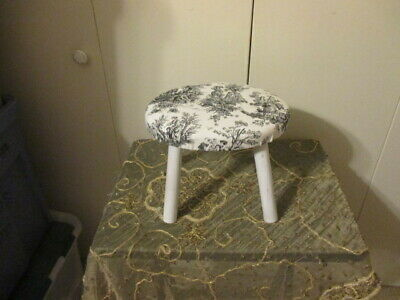 Vintage SHABBY COTTAGE Foot Stool Wood W PADDED FABRIC SEAT BLACK/WHITE