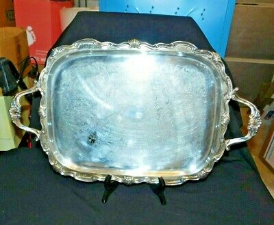 Large Vintage F B Rogers Silver Plated Serving Tray, 2 Handled, 4 Footed, Good