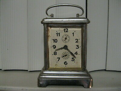 JUNGHANS Antique Carriage German Mantel chrome Shelf Alarm Clock German With Key