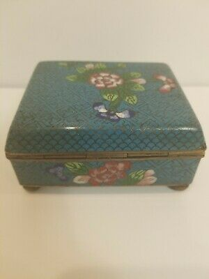 Antique Chinese Cloisonne Hinged Box W/ Hand Hammered Bronze Bun Feet