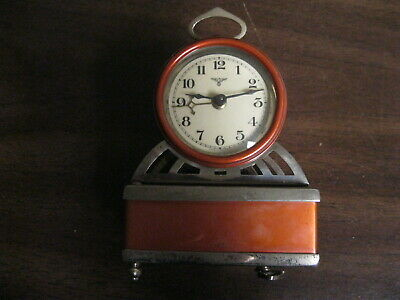 Mauthe German metal wind up alarm clock Antique Mantle 1900's