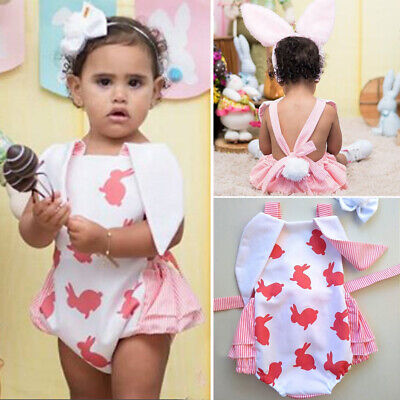 Newborn Baby Girl 1st Easter Bunny Romper Outfit Clothes Set Headband Jumpsuit
