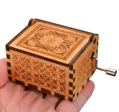 Retro Wooden Music Box Craft Hand Crank Engraved Toys Kids Birthday Gift Xmas UK