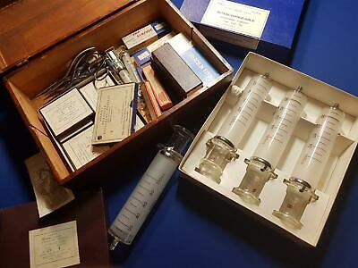 Vintage 60`s Medical Instruments Glass Syringes Needles In Wooden Box Japan UK