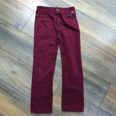 Boys Age 8 Burgundy Red Straight Leg Jeans Trousers Adjustable Waist Cotton