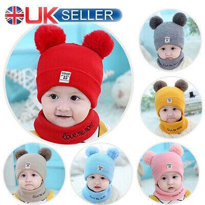 Kids Baby Children Knitted Beanie Hat Hats with Scarf Set Girls Boy All Occation