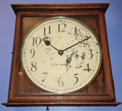 Antique Seth Thomas Early 1900s 8-day Time Only Square Gallery Oak Wall Clock