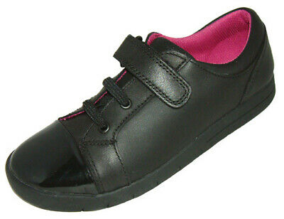 Clarks Girls Crazy Zippy INF Black Leather School Shoes_ Various Sizes