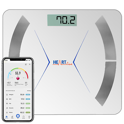 Heartline Bathroom Weighing Scales Smart Bluetooth Android Apple White Body Fat