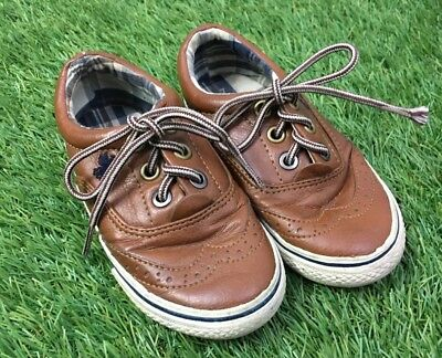 Boys Next Size 7 Brown Tan Lace Up Brogue Style Trainers/Pumps