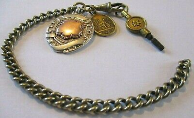 VINTAGE BIRMINGHAM SOLID SILVER WATCH FOB collectable hallmarked antique chain