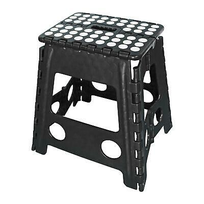 Plastic Multi Purpose Folding Step Stool Home Kitchen Easy Storage Fold Black