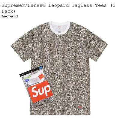 Supreme X Hanes Leopard Tagless Tees Small (2-Pack) SS19 T-Shirt Sealed New